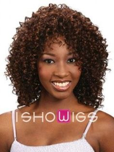 It is a medium length curly wig made from remy human hair. This wig comes down to the shoulders. The lace front extends ear to ear to give you the most realistic front hairline ever. Wispy fringes add a touch of femininity.