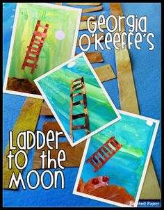 PAINTED PAPER: Ladder to the Moon - tempra on construction paper collage…Tip for 1 day process - paint the collage pieces first. Don't get them too wet. Do background while they dry then cut and attach to the dry background. Kindergarten Art, Preschool Art, School Art Projects, Projects For Kids, Project Ideas, School Ideas, Craft Ideas, Artists For Kids, Art For Kids