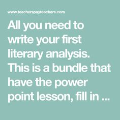 How to write a literary analysis Middle School Literacy, Cornell Notes, Teacher Pay Teachers, Teacher Newsletter, Rubrics, Outline, Fill, Writer, Teaching