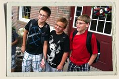 Logan, Kyle & Seth first day of school - 5th grade.  LOL Kyle's wearing a Wimpy Kid T-Shirt!   8/2011  #AuntHeather