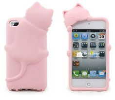 Pink Lovely 3D Cat Cartoon iPod touch 4 Soft Silicone Case Cover for iTouch 4