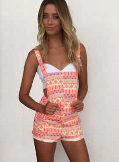 Neon Zig Zag Print Overalls #romper #playsuit #summer find more women fashion ideas on www.misspool.com