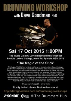Dave Goodman Drumming Workshop - 'The Magic of the Stick' - Oct 17 2015, 1:00PM