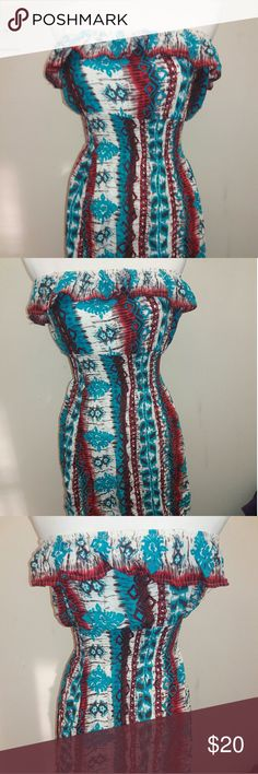 Cute stylish Red, white, Blue tube top dress. Worn a dew times. Ruffled rube top dress. Perfect for the summer time and 4th of July. Pair it with a jean vest looks gorg.?????? stretchy material.!?? Dresses Strapless