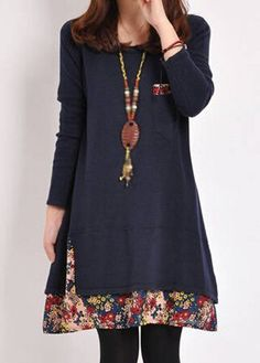 Floral Print Pocket Design Long Sleeve Dress | lulugal.com - USD $23.97