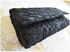Black lace embroidery clutch purse evening by KawaiiSakuraHandmade