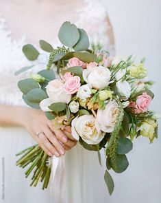 Simple hand tied bouquet. Wedding bouquet by Milles Studio for Stocksy United Hand Bouquet Wedding, Wedding Bridesmaid Flowers, Bride Bouquets, Bridal Flowers, Floral Wedding, Hand Tied Bouquet, Flower Bouquets, Summer Wedding Decorations, Wedding Summer