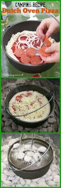 I love pizza, cast iron, and camping. I guess this camping recipe for dutch oven pizza is going on my to do list right now! It looks delicious! Fire Cooking, Cast Iron Cooking, Oven Cooking, Outdoor Cooking, Dutch Oven Pizza, Dutch Oven Camping, Dutch Oven Recipes, Pizza Recipes, Recipes Dinner