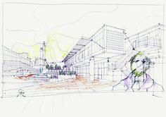 """NICOLA PAGLIARA, """"Disegno per il concorso di una piazza ad Arezzo"""" 2005, penna e pastelli, cm 29,7x42"""