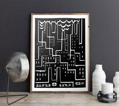 Industry Block Print Cubism Giclee Print Smokestack Black &