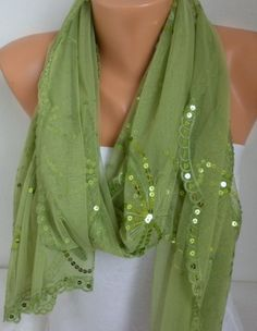Grass Green Sequin Tulle Scarf Shawl Cowl by fatwoman,  #scarves