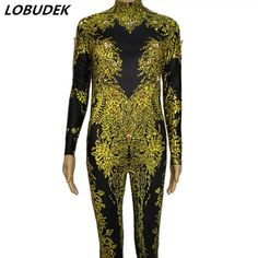 c8ae3a85501 Gold 3D Jazz Outfit Bar Singer Party Dance Wear