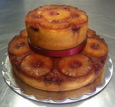 My stacked 6 & 10 inch pineapple upside down cake. Made  by Lisa, Owner of Bloomers.