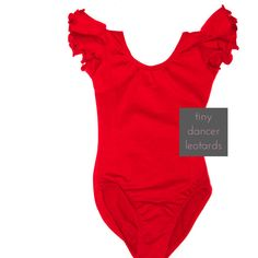 RED Toddler & Girls Flutter / Ruffle Short Sleeve Leotard in another color though