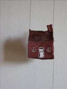 """Dorien Millerson  house - detail, 2007 -- needle lace, cotton -- 1.5"""" x 1.5"""" x 1.25"""""""