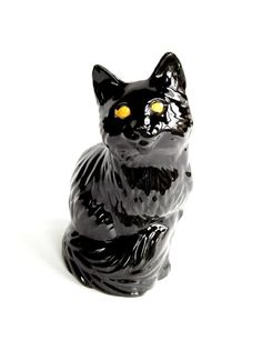 Vintage 1970s Ceramic Black Cat Figurine