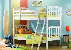 Bedroom, Dazzling Design Ideas Of Boy And Girl Shared Bedrooms Pretty Boy And Girl Shared Bedroom Design Ideas With White Wooden Bunk Bed And Sloping Ladder Also Green Lime Brown Colors Covered Bedding Sheets And Pillows Also Wooden Laminated Floor And Blue Wall Paint Color With Childrens Bunk Beds Small Rooms And Kid Bedroom Ideas For Small Rooms
