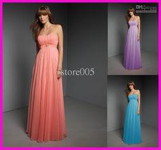 Wholesale Peach Full Length Long Chiffon Bridesmaid Dresses Belt B258, Free shipping, $67.2-89.6/Piece   DHgate