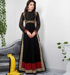 VDTVA401 Strike a perfect pose of beauty with this designer pretty black Anarkali dress. Exciting embroidery and Zari work is done on the dress to increase the beauty of the dress. A santoon salwar material, Chiffon dupatta and Santoon inner completes the look of this dress.