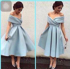 Comprimento chá Vestidos de Baile Elegante 2016 Querida Off The Shoulder Evening Vestido de Festa A Linha Azul Curto vestido de Baile com Plissado