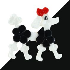 Lea Stein Signed Poodle Brooch Pin - White, Black, Red