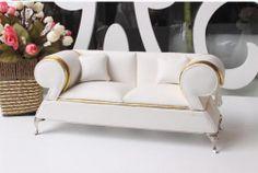 Doll House Furniture White Two Seat Sofa Scale 1 6 Silkstone Barbie Royalty   eBay