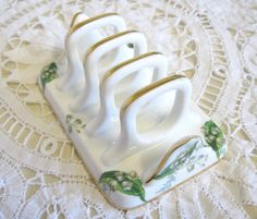 Vintage Toast Rack Hammersley Lily of the by TheWhistlingMan SOLD Toast Rack, December 2014, Lily Of The Valley, My Flower, Pretty Little, Vintage Shops, Mystic, Birth, Kitchen Decor