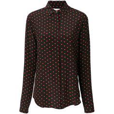 Saint Laurent lightning bolt heart print shirt (1,755 CAD) ❤ liked on Polyvore featuring tops, black, silk long sleeve top, silk top, yves saint laurent, long sleeve shirts and heart print top