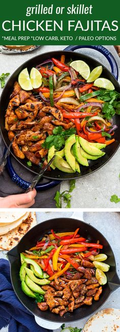 Low Carb Chicken Fajitas – the perfect easy and healthy Mexican inspired meal for busy weeknights. Best of all, ready in 30 minutes with instructions for the grill or on a one pan skillet. Marinated in a homemade fajita spice blend and chili lime marinade. Paleo & keto friendly serving options and great for meal prepping on Sunday for work or school lunchboxes or lunch bowls. #fajitas #chicken #lowcarb #keto #mealprep #lunchbox #cauliflowerrice #healthy #grill #skillet