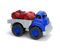 Toy Flatbed Truck and Race Car