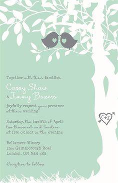 Custom Listing for cassyshaw - Coral and Mint Custom Love Birds Wedding Invitations