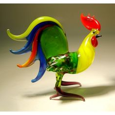 glass #rooster with colorful tail