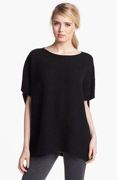 Vince Rib Knit Wool Cashmere PONCHO Sweater Size L Black $320 #Vince #Poncho