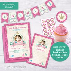 Your place to buy and sell all things handmade Printable Invitations, Printables, Princess Party Invitations, Thank You Notes, Pink Polka Dots, Little Princess, Cupcake Toppers, Bunting, Rsvp