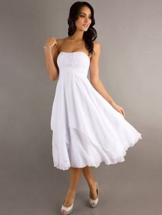 A-line Strapless Ruffles Sleeveless Tea-length Chiffon Bridesmaid Dresses
