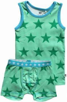 Green Cotton UA Σέτ Φανελάκι και Μποξεράκι από 100% Οργανικό Βαμβάκι με Αστεράκια Big Star, Green Cotton, Underwear, Rompers, Stars, Dresses, Fashion, Vestidos, Moda