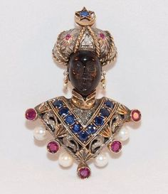 Rare Nardi Blackamoor 18K Gold Pink and Blue Sapphire and Pearl Brooch. 58mm x 40mm