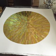GOLD wall art from recycled chocolate foils. Strips carefully cut, selected and glued to form six ripples. Finished artwork before drying and flattening. Mint Bar, Quality Street, Gold Wall Art, Raw Chocolate, One Color, Recycling, Charlotte, Collage, Collages