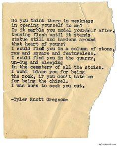 Typewriter Series #1046byTyler Knott Gregson *Chasers of the Light, is available throughAmazon,Barnes and Noble,IndieBound,Books-A-Million,Paper SourceorAnthropologie*