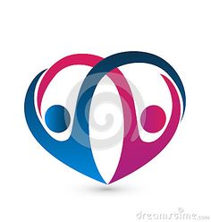 Heart shape with a couple figures graphic design art logo vector