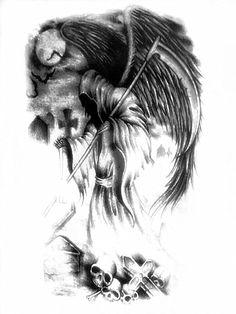 Tattoo Ideas Female Skull Grim Reaper New Ideas Evil Tattoos, Bone Tattoos, Skull Tattoos, Body Art Tattoos, Fairy Tattoo Designs, Music Tattoo Designs, Tattoo Designs And Meanings, Angel Of Death Tattoo, Guardian Angel Tattoo