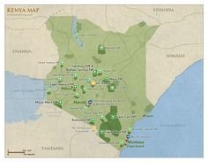 Map of Kenya with national parks and highlights for safaris   Kenya Travel Guide with info about: Parks, Best time to visit, Photos, Map & Reviews!
