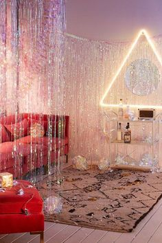 Shop Iridescent Fringe Curtain Decor at Urban Outfitters today. We carry all the latest styles, colors and brands for you to choose from right here. Home Design, Interior Design, Christmas Living Rooms, Glitter Party, Sparkle Party, Boho Home, Cozy Christmas, Bohemian Christmas, Partys