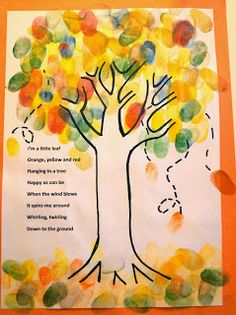 Finger Print - Fall Tree for preschoolers. With a fall Leaf Poem. Finger Print - Fall Tree for preschoolers. With a fall Leaf Poem. Autumn Leaves Craft, Autumn Crafts, Autumn Art, Autumn Theme, Fall Leaves, Fall Preschool, Preschool Crafts, Preschool Songs, Preschool Themes