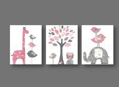 Lot de 3 illustrations 30x40 cm pour chambre d'enfant et bebe, art decor