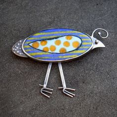Bird Brooch. Quirky Quail Colorful Enamel Brooch, Sterling Silver, Hand Made