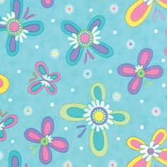 Quilting Cotton fabric | Hi De Ho by Me and My Sister | Floral Turquoise Aqua Butterflies 22250 16