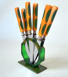 Art Deco BAKELITE Butterscotch & Green Knife Set with Stand Solingen Germany