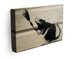 Banksy Rat With Broom Canvas Print Banksy Canvas Prints, Banksy Rat, Modern Canvas Art, Rats, Street Art, Paintings, Drawings, Paint, Painting Art