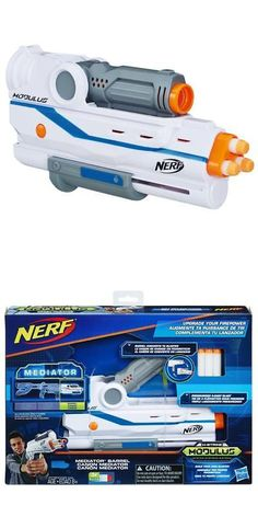 """The barrel converts to blaster that features pressurized blasting. """" Includes barrel, 3 darts, and instructions. """" Converts to a blaster. Nerf Storage, Nerf Accessories, Cool Nerf Guns, Lego Universe, Nerf Toys, Cooking Toys, Nerf Party, Weapons Guns, Survival Tools"""